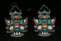 EARRINGS*ZUNI*MULTI-INLAY*KNIFEWING*PAWN*SCREWBACK
