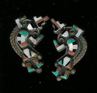 EARRINGS ZUNI INLAY RAINBOW MAN SCREWBACK PAWN
