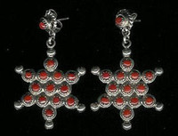 EARRINGS*ZUNI*CORAL*PETTIPOINT*SNOWFLAKE*M & A Tsatie