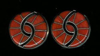 EARRINGS*ZUNI*CORAL*INLAY*CLIP*HUMMINGBIRD DESIGN*Amy Quandelacy