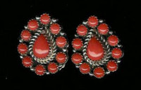 EARRINGS*SILVER*CORAL*SOLD