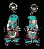 EARRINGS*ZUNI*MULTI-INLAY CLOWN EARRINGS ED