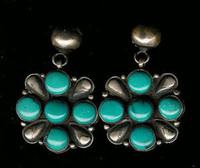 EARRINGS*NAVAJO*SILVER*TURQUOISE*Calvin Martinez SOLD
