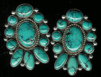 EARRINGS SANTO DOMINGO SILVER TURQUOISE_1 Joseph Tenerio Sold