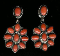 EARRINGS*NAVAJO*SILVER*CORAL*Jeanette Dale ERNCJD1