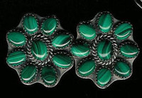 EARRINGS NAVAJO SILVER MALACHITE CLIP Jeanette Dale