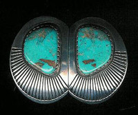 EARRINGS*NAVAJO*SILVER*TURQUOISE*Kee Nez ERKN7