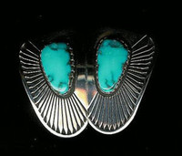 EARRINGS*NAVAJO*SILVER*TURQUOISE*Kee Nez ERKN6