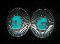 EARRINGS*NAVAJO*SILVER*TURQUOISE*Kee Nez ERKN3