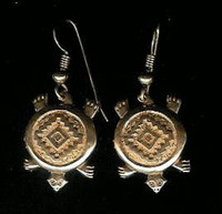EARRINGS*ISLETA*14KT GOLD TURTLE*Andy Kirk