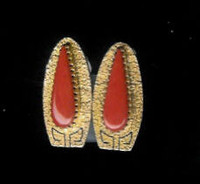 EARRINGS*NAVAJO*GOLD*CORAL*Al Nez