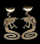 EARRINGS*HOPI*GOLD*KOKOPELLI*Roy Talahaftewa