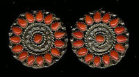 EARRINGS*ZUNI*SILVER*CORAL*Nancy Haloo SOLD