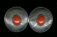 EARRINGS*NAVAJO*SILVER*CORAL*Marco Begaye