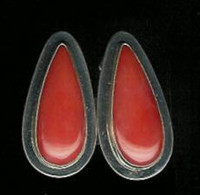 EARRINGS*NAVAJO*SILVER*CORAL*E Piaso