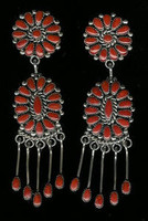 EARRINGS*ZUNI*SILVER*CORAL*CLUSTER*Alice Quam SOLD
