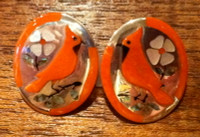 EARRINGS NAVAJO ZUNI SILVER CORAL Jake & Irene Livingston