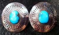 EARRINGS NAVAJO SILVER TURQUOISE Howard Nelson ENSTKN8