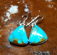 EARRINGS NAVAJO SILVER TURQUOISE DANGLE D ENSTDD3 SOLD