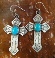 EARRINGS NAVAJO STERLING SILVER TURQUOISE CROSS FRENCH WIRE SOLD