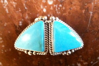 EARRINGS NAVAJO SILVER TURQUOISE CLIP SOLD