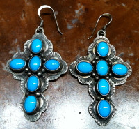 EARRINGS NAVAJO STERLING SILVER TURQUOISE CROSS