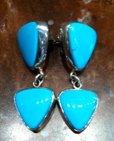 EARRINGS NAVAJO SILVER SLEEPING BEAUTY TURQUOISE DANGLE SOLD