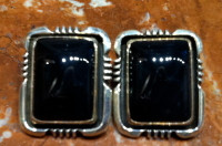 EARRINGS NAVAJO STERLING SILVER ONYX RECTANGULAR CABOCHON CLIP WD SOLD