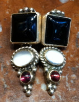 EARRINGS NAVAJO STERLING SILVER ONYX MOONSTONE GARNET SOLD