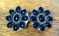 EARRINGS NAVAJO SILVER ONYX CLUSTER CLIP Jeanette Dale