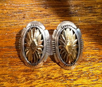 EARRINGS NAVAJO SILVER & 14KT GOLD Howard Nelson