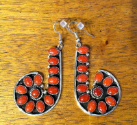 EARRINGS NAVAJO ZUNI SILVER CORAL DANGLE FRENCH WIRE G