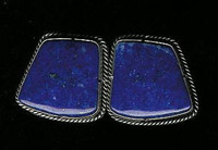 EARRINGS NAVAJO LAPIS SILVER CABOCHON CLIP Jake & Irene Livingston