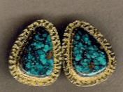 EARRINGS NAVAJO 14KT GOLD TURQUOISE Al Nez ENGTAN6