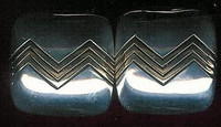 EARRINGS NAVAJO 14KT GOLD & SILVER SQUARE Leonard Schmallie