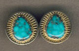 EARRINGS NAVAJO 14KT GOLD MORENCI TURQUOISE Al Nez ENGMTAN9