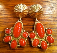EARRINGS NAVAJO GOLD & CORAL KS SOLD