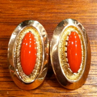 EARRINGS NAVAJO GOLD CORAL Al Nez