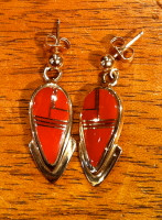 EARRINGS NAVAJO CORAL & GOLD INLAY