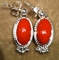EARRINGS NAVAJO CORAL DANGLE Thomas Francisco SOLD
