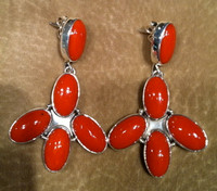 EARRINGS NAVAJO CORAL DANGLE ENCD8 SOLD