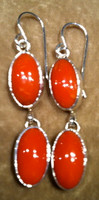 EARRINGS NAVAJO CORAL DANGLE FRENCH WIRE SOLD