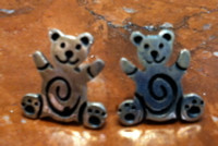 EARRINGS HOPI SILVER TEDDY BEAR POO BEAR MOTIF Marvin Lucus SOLD