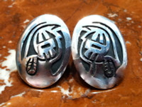 EARRINGS HOPI SILVER OVAL FACE OF LONG HAIR KACHINA FIGURE