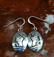 EARRINGS HOPI SILVER LIGHTNING KIVA STEP MOTIF CM