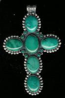 Don Lucas Pendants Silver Blue Gem Turquoise Cross Pendant