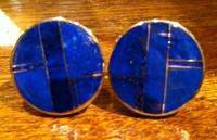 CUFF LINKS NAVAJO 14KT GOLD LAPIS INLAY Ray Tracey CLNGLIRT5