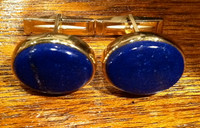 CUFF LINKS NAVAJO 14KT GOLD LAPIS CABOCHONS