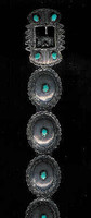 Navajo 1940's Pawn Oval Turquoise Concho Belt_38