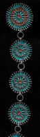 Zuni Style/Navajo 1970's Round Link Needlepoint Turquoise Concho Belt_30 Victor M. Begay